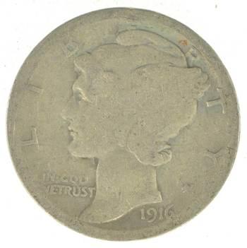 First Year - 1916 - Mercury Head Silver Dime - Tough