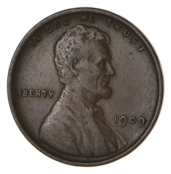 First Year - with Rare V.D.B. Initials! 1909 Lincoln Wheat Cent - Over 100 Years Old!
