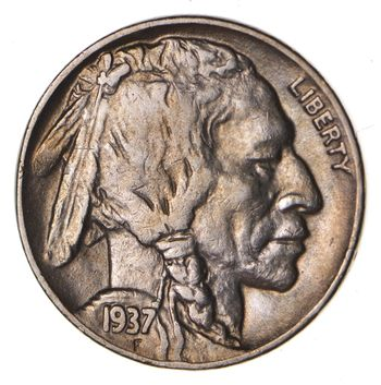 FULL HORN - High Grade - TOUGH - 1937-D Buffalo Nickel - Sharp Coin!