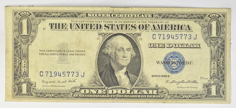 G' Series 1935 $1.00 U.S. Paper Money - Silver Certificate