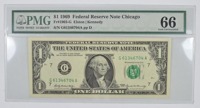Gem Unc 66 1969 $1 Chicago Federal Reserve Note Fr. 1903-G - PMG Graded