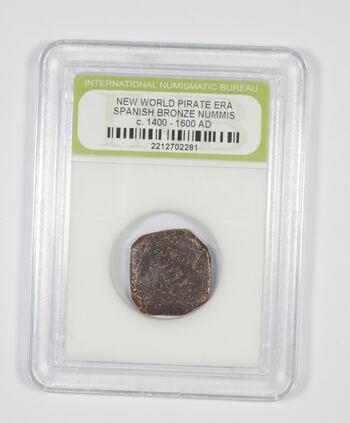 Genuine 1400-1600 AD Spanish Bronze - New World Pirate Era Coin