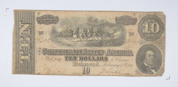 Genuine CIVIL WAR 1864 $10.00 Confederate States of American - Over 150 Years Old - Horse Blanket Note