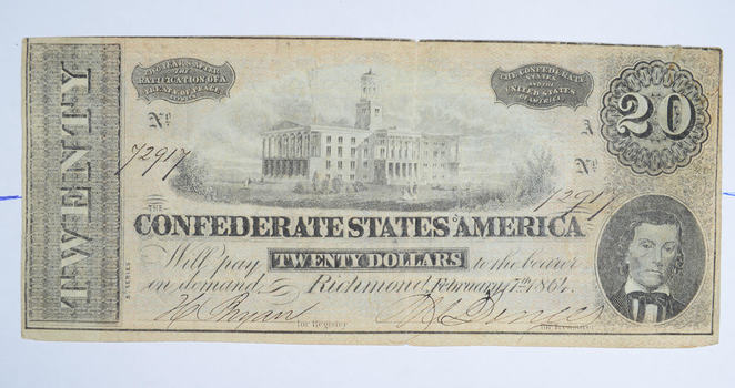 Genuine CIVIL WAR 1864 $20.00 Confederate States of American - Over 150 Years Old - Horse Blanket Note