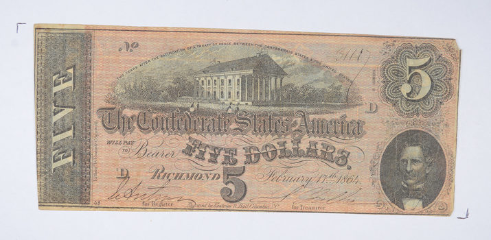 Genuine CIVIL WAR 1864 $5.00 Confederate States of American - Over 150 Years Old - Horse Blanket Note