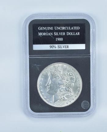 GENUINE UNC 1900 Morgan Silver Dollar - Slabbed PCS