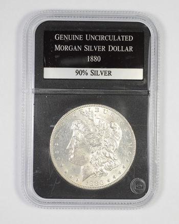 Genuine Uncirculated 1880 Morgan Silver Dollar - Graded PCS
