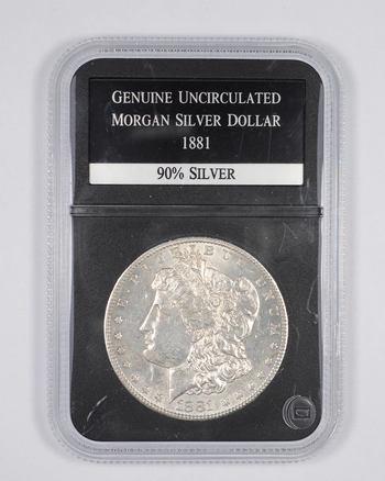 Genuine Uncirculated 1881 Morgan Silver Dollar - Graded PCS