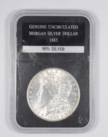 Genuine Uncirculated 1885 Morgan Silver Dollar - Graded PCS