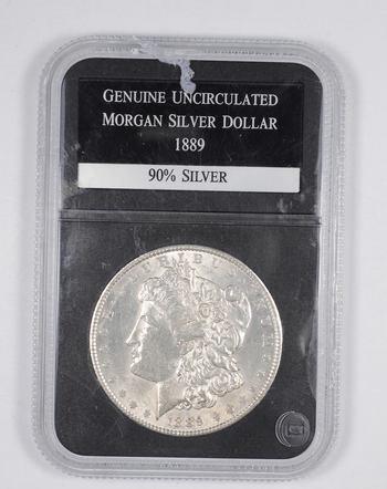 Genuine Uncirculated 1889 Morgan Silver Dollar - Graded PCS