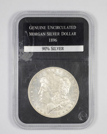 Genuine Uncirculated 1896 Morgan Silver Dollar - Graded PCS