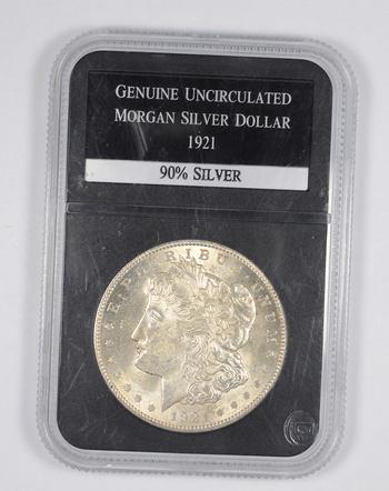 Genuine Uncirculated 1921 Morgan Silver Dollar - Graded PCS
