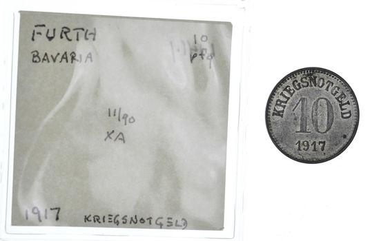 GERMANY States: 1917 Furth Bavaria 10 Pfennig