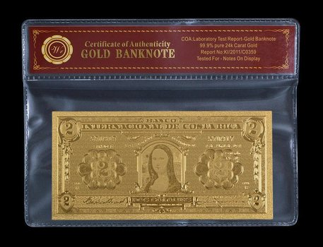 Gold Costa Rica Banknote 1931 Mona Lisa 2 Colones- Beautifully Displayed Replica Bank Note