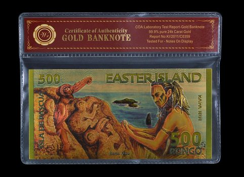 Gold Easter Island 500 Rongo- Beautifully Displayed Replica Bank Note