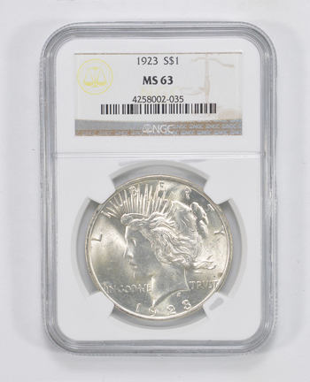 GRADED - 1923 Peace Silver Dollar - MS-63 - NGC - Professionally Authenticated and Graded