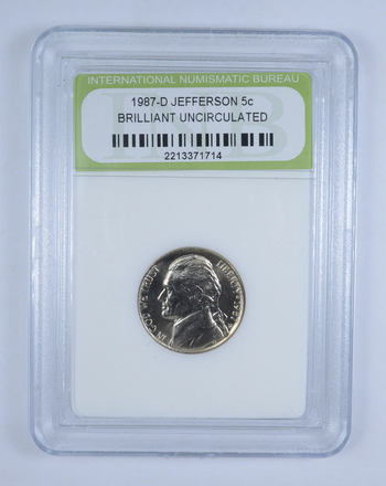 Graded - 1957-D Jefferson Nickel Brilliant Uncirculated