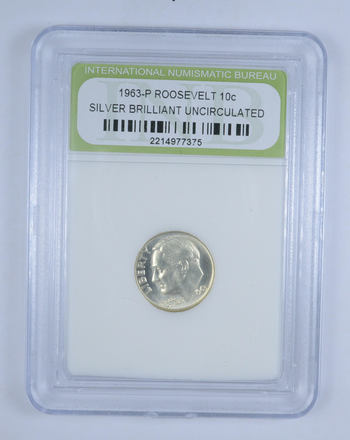 Graded - 1963-P Silver Roosevelt Dime Brilliant Uncirculated