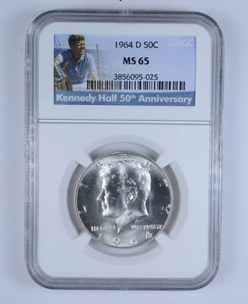 GRADED 1964-D Kennedy Half Dollar MS65 - NGC