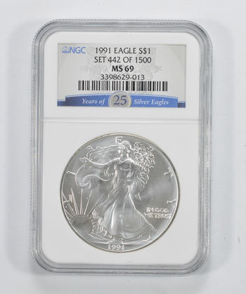 GRADED 1991 - American Silver Eagle 1 Oz MS-69 Grade NGC