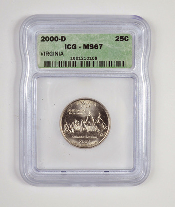 GRADED 2000-D Virginia State Quarter MS67 - ICG Professional Graded and Authenticated!