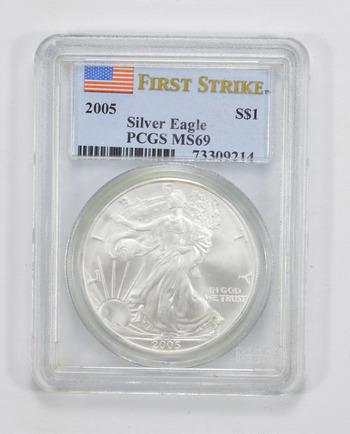 GRADED 2005 - American Silver Eagle 1 Oz MS-69 Graded PCGS