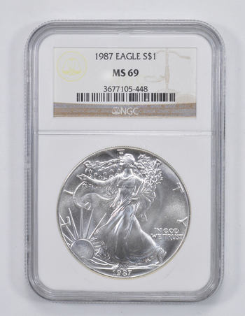 Graded - MS-69 1987 American Silver Eagle - - Graded By NGC