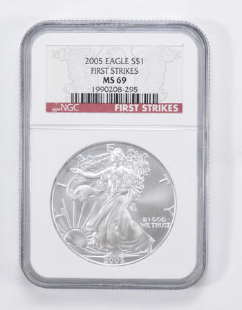 Graded - MS69 2005 Silver Eagle First Strikes - Graded By NGC
