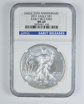 Graded - MS69 2011 Silver Eagle - Early Releases Eagle 25th Anniversary Holder - Graded By NGC