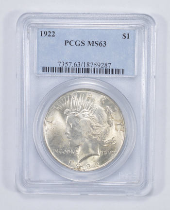 GRADED - Peace Silver Dollar - MS-63 -PCGS- Professionally Authenticated and Graded