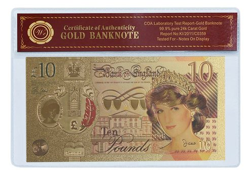 Great Britain 10 Pound 2017 Princess Diana- Beautifully Displayed Replica Bank Note
