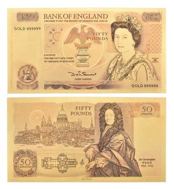Great Britain UK 50 Pound Queen of England II- Replica Bank Note