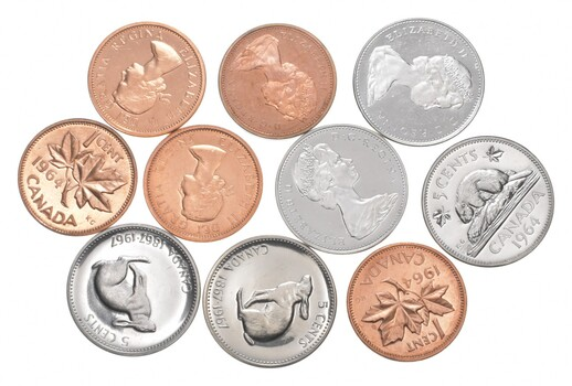 Group 10 Mixed Canadian Nickel Penny Cent Proof Like Set Coins Collection