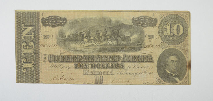Hand SIGNED 1864 $10.00 Confederate States of America - Authentic Civil War