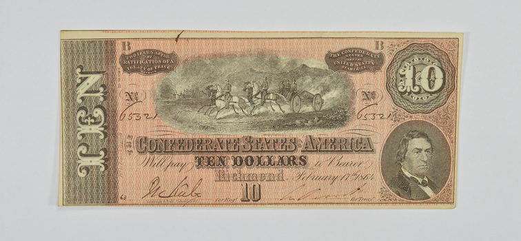 Hand SIGNED 1864 $10.00 Confederate States of American - Authentic Civil War