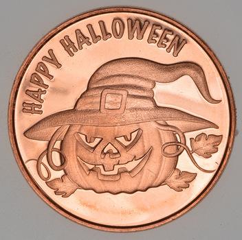 Happy Halloween - Holiday Series - 1 Oz .999 Fine Copper Round