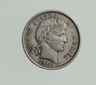 Higher Grade - 1901 Barber Liberty US Silver Dime - Great Detail in LIBERTY