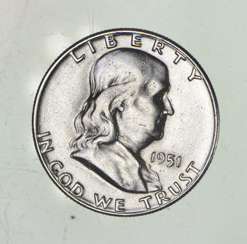 Higher Grade - 1951 - RARE Franklin Half Dollar 90% SIlver Coin