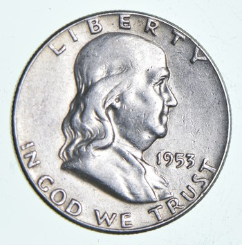 Higher Grade - 1953 - RARE Franklin Half Dollar 90% SIlver Coin