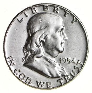 Higher Grade - 1954 - RARE Franklin Half Dollar 90% SIlver Coin