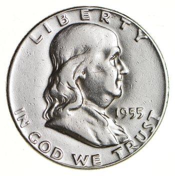 Higher Grade - 1955 - RARE Franklin Half Dollar 90% SIlver Coin