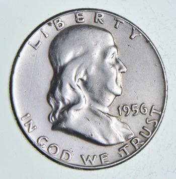 Higher Grade - 1956 - RARE Franklin Half Dollar 90% SIlver Coin