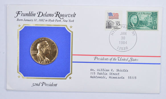 Historic - Presidents of the United States Franklin Delano Roosevelt Medal - 32nd President - Medal & Stamps Collection
