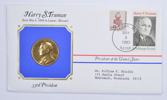 Historic - Presidents of the United States Harry S. Truman Medal - 33rd President - Medal & Stamps Collection