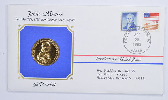 Historic - Presidents of the United States James Monroe Medal - 5th President - Medal & Stamps Collection