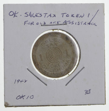 Historic - United States Tax Token - Oklahoma Sales Tax For Old Age Assistance