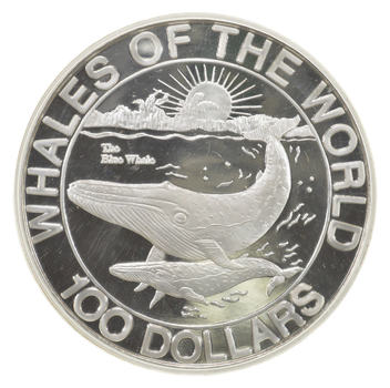 HUGE 1993 Commonwealth of the Bahamas $100 Dollars .999 Silver - Whales