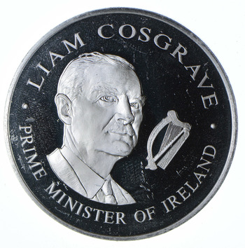 HUGE CAMEO - United States Bicentennial Visit Liam Cosgrave Prime Minister of Ireland Sterling .925 Fine Round - 50.7 Grams