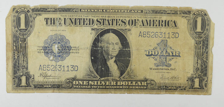 "HUGE Horse Blanket - 1923 $1.00 Silver Certificate - Large Size Note - Over 7"" Long"