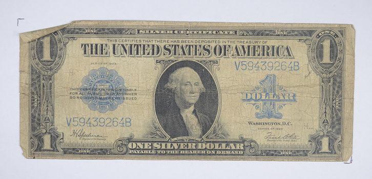"HUGE Horse Blanket - 1923 $1.00 Silver Certificate - Large Size Note - Over 7"" Long"